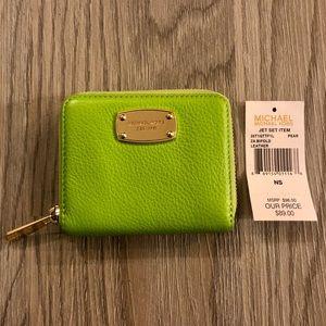NWT Michael Kors Jet Set Bifold Lime Green Wallet